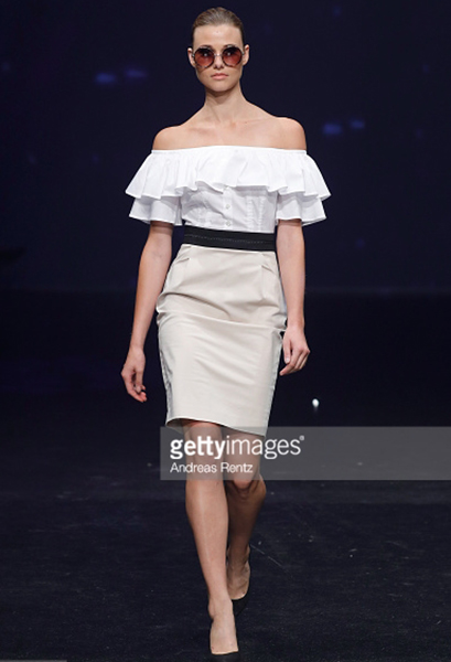A model walks the runway at the Thomas Rath show during Platform Fashion July 2017 at Areal Boehler on July 23, 2017 in Duesseldorf, Germany.